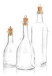 Original glass bottles isolated on white