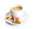 Cup of coffee and fortune cookies, isolated on white