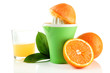 Citrus press, glass of juice and ripe oranges, isolated on