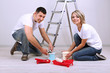 Young couple doing renovation together.