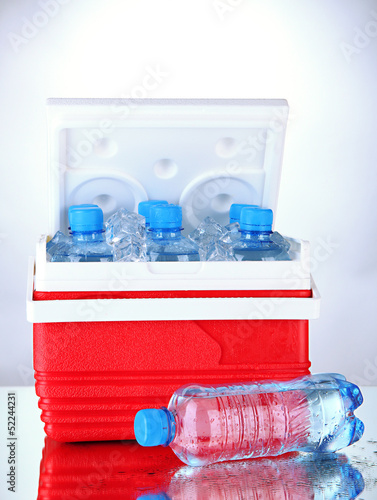 Traveling refrigerator with bottles of water and ice cubes,