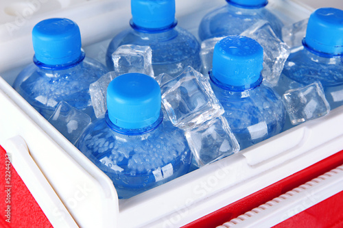 Bottles of water and ice cubes in traveling refrigerator, close