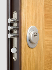 Wooden doors with lock