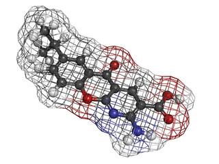 Amlexanox canker sore drug, molecular model.