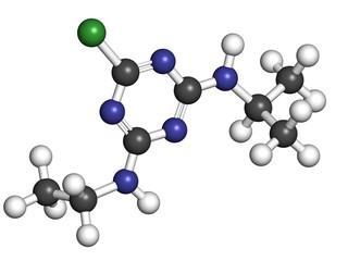 Atrazine herbicide, molecular model.