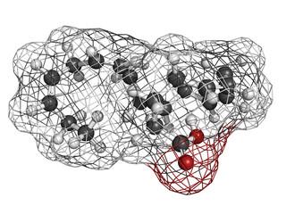Eicosapentaenoic acid (EPA) fish oil omega-3 fatty acid, molecul