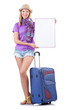 Young woman with blank message and suitcase
