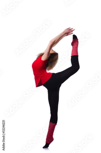 Young gymnast exercising on white