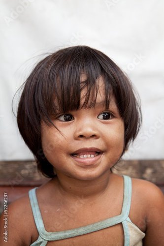 Asian girl from poverty area