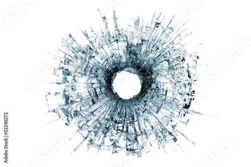 bullet hole in glass isolated on white - 52246272