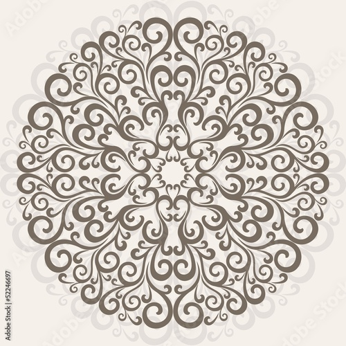 Curl pattern background. Ornamental round lace.