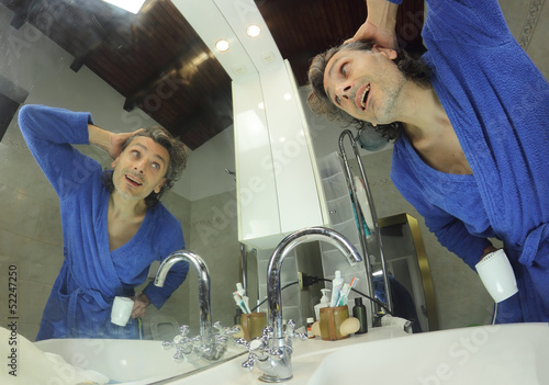 happy man in bathroom