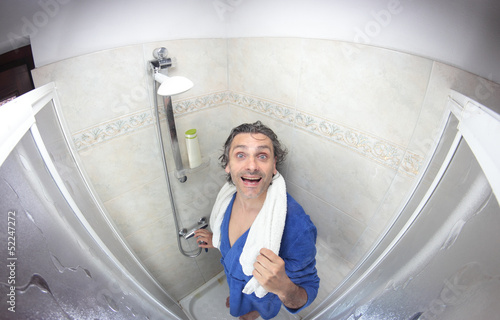 man in bathrobe, fish eye view