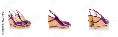 Set of woman shoes isolated on the white