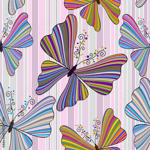 Striped seamless pattern with butterflies