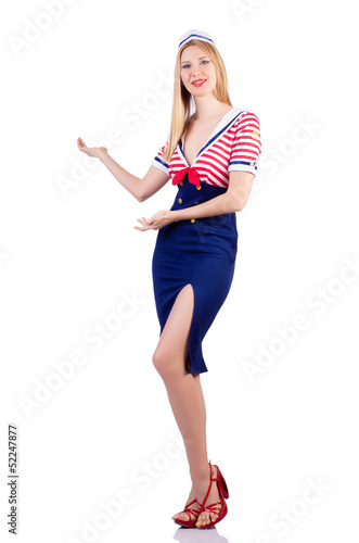 Woman in costume holding hands on white