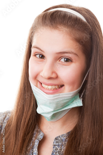Teenager girl in surgical mask