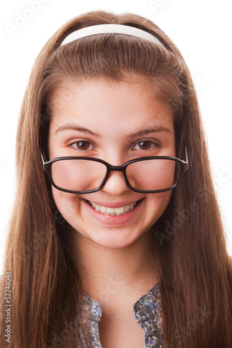 Teenager girl in glasses