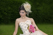 Attractive woman in wedding gown
