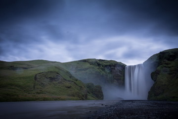 skogafoss waterfalls view  in iceland