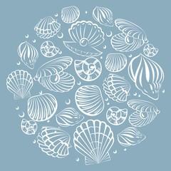 Seashell round design element. Sea background.