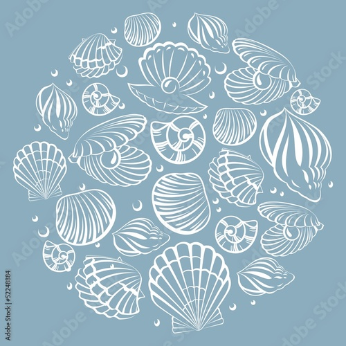 Seashell round design element. Sea background.