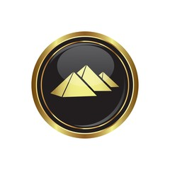 Round golden button with pyramids icon. Vector illustration