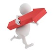 running white 3d man carrying red arrow