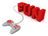 gray joystick red buttons with concept FUN text letters