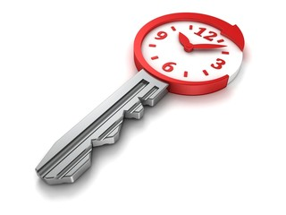 time concept metallic key with round arrow and dial clock face