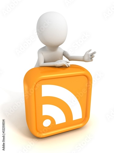 white 3d man with orange RSS icon symbol block
