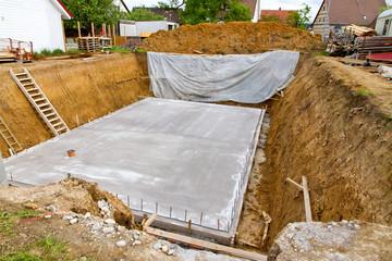 Fundament eines Neubaus