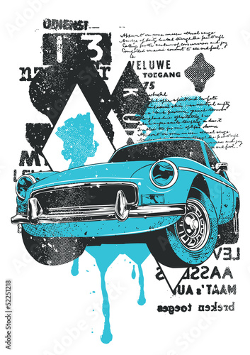 Blue Car © Tshirt-Factory.com