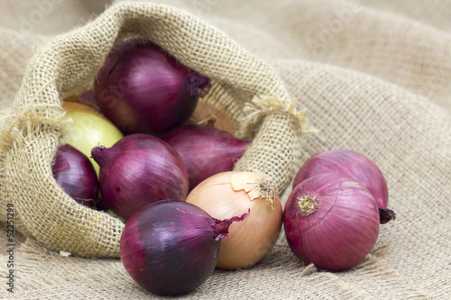 Fresh onions in package