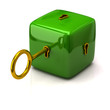 Security concept. Green cube and golden key.
