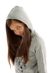 Girl in Hooded Sweatshirt