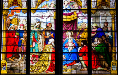 Stained glass in Cologne Cathedral - Adoration of the Magi