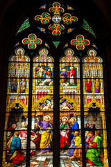 Magnificent stained glass window in Cologne Cathedral