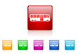 bus vector glossy web icon set