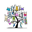 Wardrobe, clothes on tree for your design - 52252630