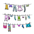 Clothes on the clothesline. Sketch for your design - 52252658