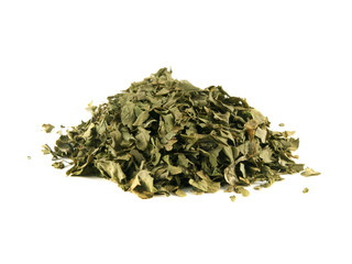 Heap of dry isolated coriander on white background