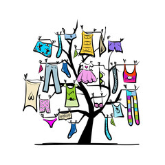 Wardrobe, clothes on tree for your design