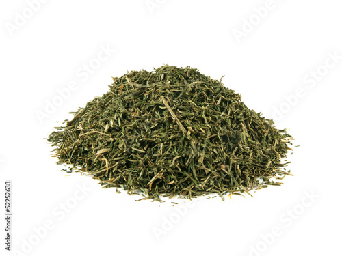 Heap dried dill isolated on white background