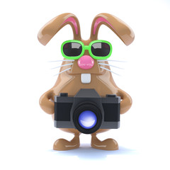 Chocolate bunny takes pictures for money