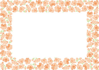 Rectangle backround with apple flowers