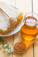 Bee products; bee pollen, beehive and honey