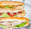 Long sandwiches made from integral bred with cheese and vegetabl