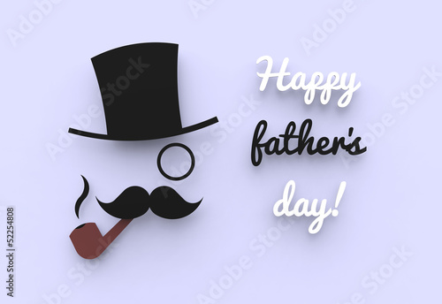 A father's day illustration of a man with a top hat and a pipe.