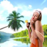 Caucasian woman drinks unrecognizable cocktail poster